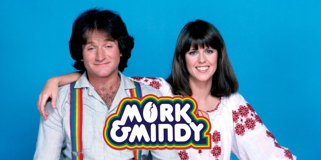 MORK & MINDY - Gallery -  Season One -  5/24/1978 Robin Williams stars as Mork, a comedic alien who travels to Earth from his planet Ork in a large egg-shaped space ship. Landing in Boulder, Colorado he's befriended by Mindy, a pretty journalism student played by Pam Dawber, who helps him adapt to his new environment. CR:ABC