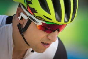 Nino Schurter was seen training with new Oakley Radar Pace sunglasses which Oakley made in cooperation with Intel.