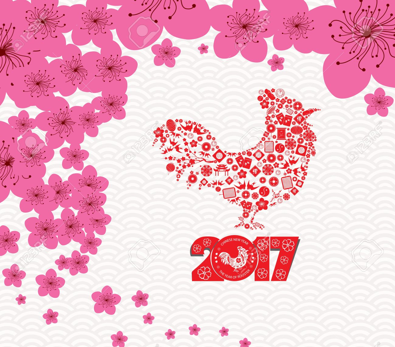 Chinese New Year  2017. Plum blossom and rooster background.