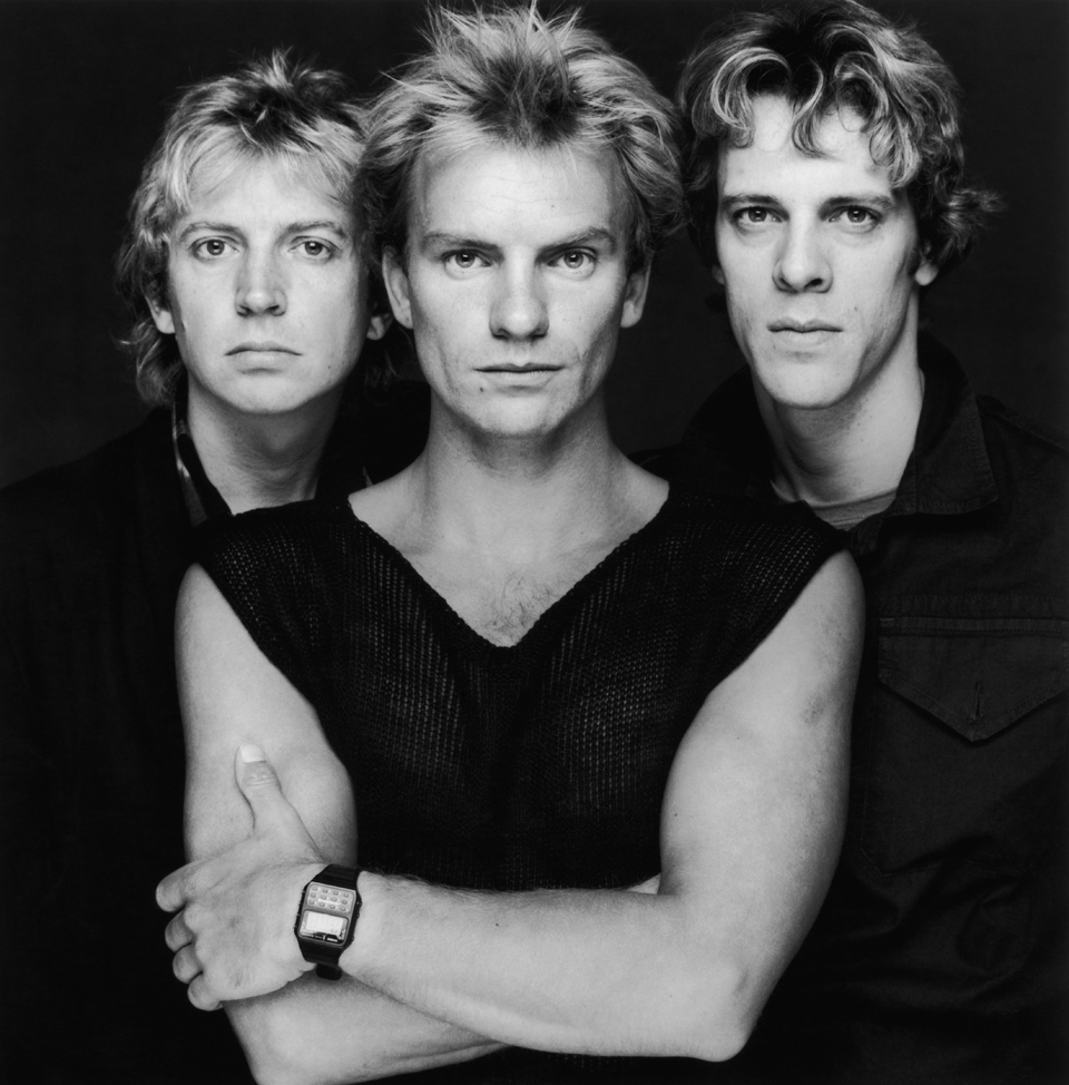 A portrait of British pop group The Police, from left to right, Andy Summers, Sting and Stewart Copeland, early 1980s. (Photo by Terry O'Neill/Getty Images)