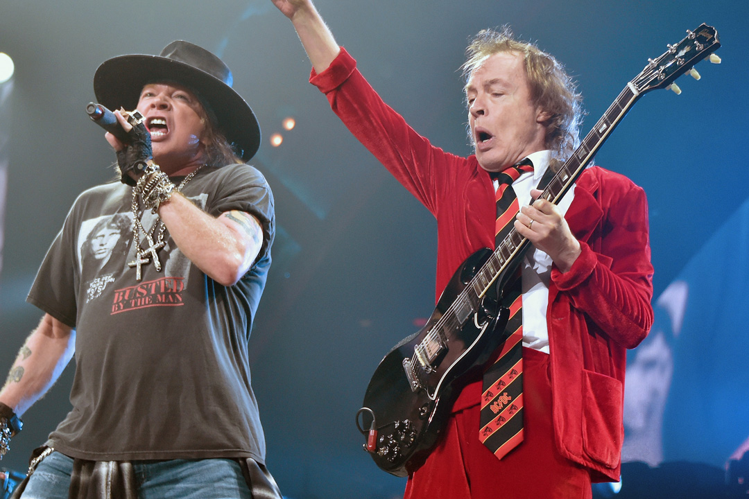 NEW YORK, NY - SEPTEMBER 14:  Singer Axl Rose (L) and guitarist Angus Young of AC/DC perform during the AC/DC Rock Or Bust Tour at Madison Square Garden on September 14, 2016 in New York City.  (Photo by Mike Coppola/Getty Images)