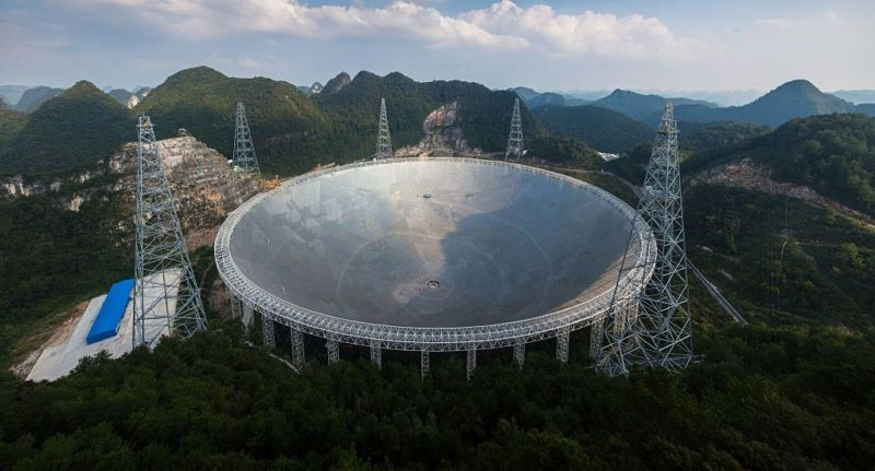 This picture taken on September 24, 2016 shows the Five-hundred-metre Aperture Spherical Radio Telescope (FAST) in Pingtang, in southwestern China's Guizhou province. Humanitys best bet at detecting aliens is a giant silver Chinese dish the size of 30 football fields -- one that simultaneously showcases Beijing's abilities to deploy cutting-edge technologies and ignore objectors' rights as it seeks global prominence. / AFP / STR / China OUT        (Photo credit should read STR/AFP/Getty Images)